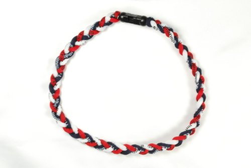 Package of 10 Navy Blue Red White Tornado Necklaces (Necklace Titanium Mlb)