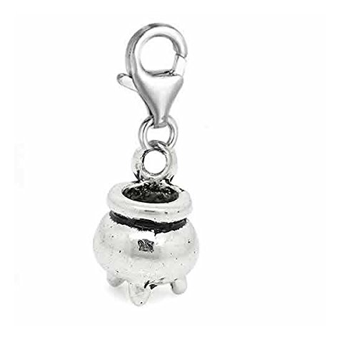 (SEXY SPARKLES Halloween Witch Cauldron Kettle Pendant for European Clip on Jewelry with Lobster Clasp )