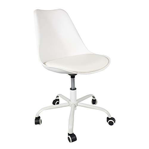 Price comparison product image Student Chair Rolling Swivel Chair Adjustable YURUCY Dining Padded Chair Home Office (White Chair)