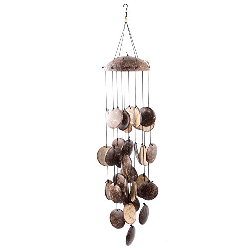 """Windic Coconut Shell String Wind Chime, 29"""" Wind Bell with Natural Sound, for Patio,Garden, Balcony,Yard,Porch,Outdoor,Indoor Décor Review"""