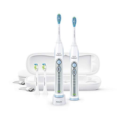 Philips Sonicare FlexCare Whitening Edition Rechargeable Toothbrush Premium 2-Pack Bundle HX6964/77 (2 FlexCare Handles, 2 DiamondClean & 2 Plaque Control Brush Heads, 2 USB Charging Travel Cases) ()