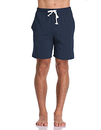 Luvrobes Men's Cotton Knit Pajama Lounge Shorts Sleep Bottoms (M, Navy) - Cotton Knit Pjs