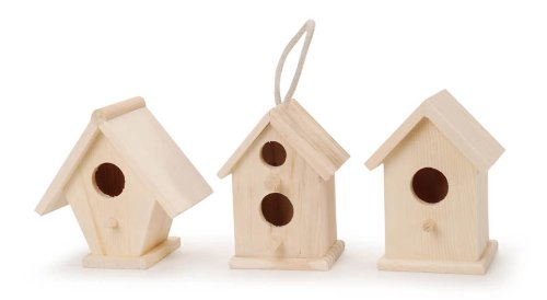 Darice Unfinished Natural Wood Decorative Birdhouse - Light Wood, Assorted Styles - Great for Holiday and Home Décor Projects - Decorate with Paint, Tiles, Decoupage and More - 4.5