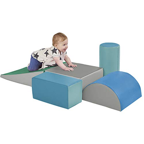 Safe Playmat Set - ECR4Kids SoftZone Climb and Crawl Activity Play Set, Lightweight Foam Shapes for Climbing, Crawling and Sliding, Safe Foam Playset for Toddlers and Preschoolers, 5-Piece Set, Contemporary