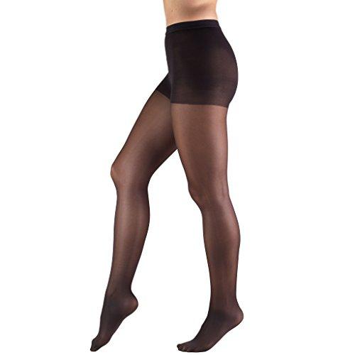 Petite Spandex Pantyhose (Truform Women's 8-15 mmHg Mild Sheer Compression Pantyhose, Black, Petite)