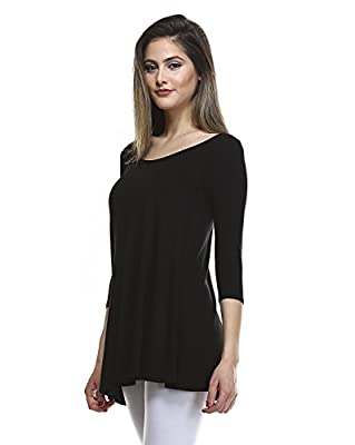 AMIE Finery 3 4 Sleeve Tunics for Women Luxury Tunic Top To Wear With Leggings