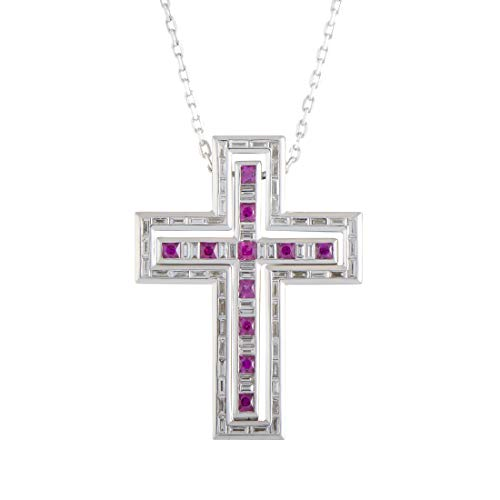 Damiani Gold Necklace - Damiani Belle Epoque 18K White Gold Diamond and Ruby Cross Pendant Necklace