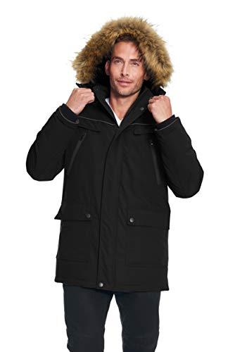 Alpine North Men's Vegan Down Winter Parka with Removable Faux Fur (Small, Black)
