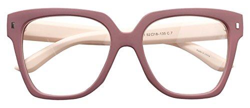 Retro Nerd Geek Oversized Eye Glasses Horn Rim Framed Clear Lens Spectacles (MATT PINK ()