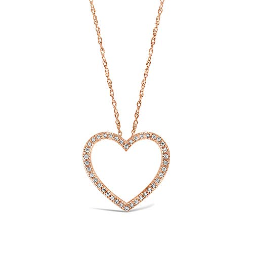 Brilliant Expressions 10K Rose Gold 1/8 Cttw Conflict Free Diamond Open Heart Pendant Necklace (I-J Color, I2-I3 Clarity), Adjustable Chain 16-18 inch