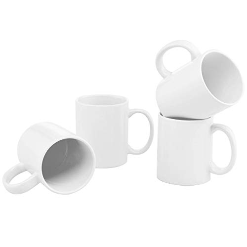 - Culver 11-Ounce Hampton Ceramic Mug, White, Set of 4