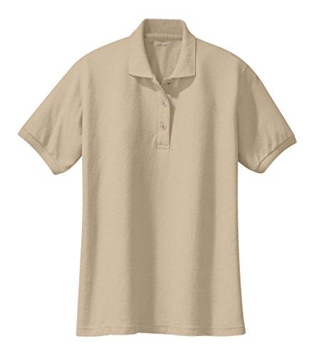 (Joe's USA Ladies Short Sleeve Polo Shirt-Stone-XL)