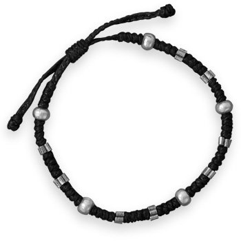 """Adjustable Macrame Beaded Bracelet 8"""" - 10"""" adjustable black cotton cord macrame bracelet with sterling silver beads. The stamped sterling silver beads are 2.5mm x 5mm and the matte finish beads are 4mm x 6mm. .925 Sterling Silver"""