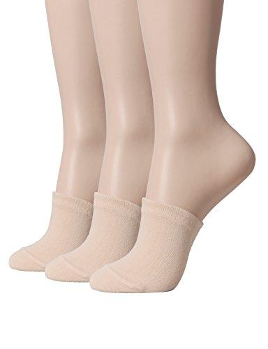 OSABASA Womens Toe Topper Liner Socks 3-Pack(SET3KWMS0377-BEIGE)