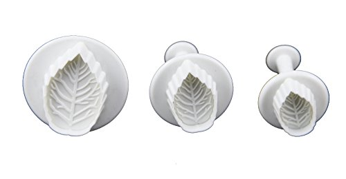 Longzang LongzangFD-010 Veined Rose Leaf Cutter Cake Decorating Fondant Plunger Embossing Tool, Set of 3, White ()