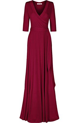 (Bon Rosy Women's #MadeInUSA 3/4 Sleeve Classic Paris Maxi Wrap Dress Summer Wedding Guest Party Bridal Baby Shower Maternity Nursing Burgundy S(DJ51504-Solid))
