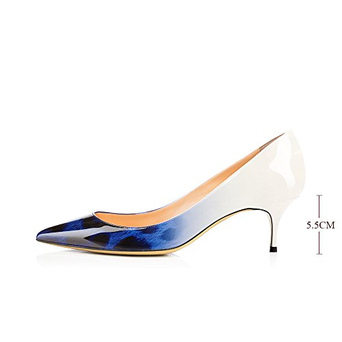 Shoes 5cm Leather Stiletto Kitten Women's 5 Pumps Gorgeous Modemoven Blue Patent Leopard Pointed Evening Toe Heels POyqCw