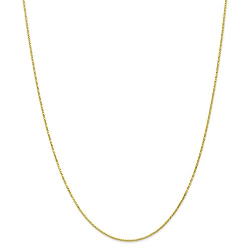 "Jewel Tie 10k Yellow Gold 1.2mm Parisian Wheat Chain Necklace 24"" - with Secure Lobster Lock Clasp"