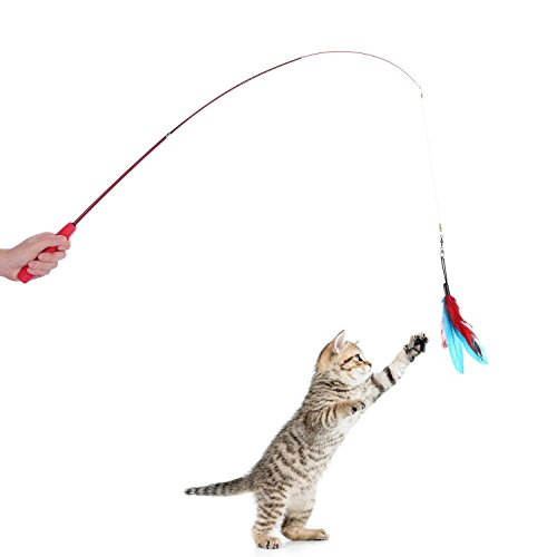 Etrech 8 Piece Assorted Feather Toy, Retractable Wand Rod with Teaser Catcher, Perfect Teaser for Exercising Kitten or Cat, Red