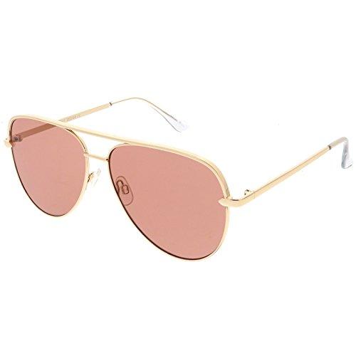 sunglassLA - Premium Oversize Metal Aviator Sunglasses With Colored Flat Lens And Crossbar 60mm (Gold / - Lenses Coloured Rose