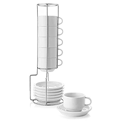 Sweese Porcelain Stackable Espresso Cups with Saucers and Metal Stand - 2.5 Ounce for Specialty Coffee Drinks, Latte, Cafe Mocha and Tea - Set of 6