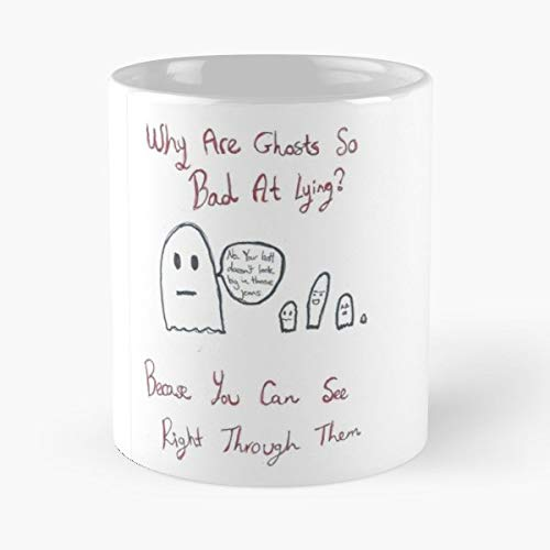 Ghost Joke Halloween Cheeky - 11 Oz Coffee Mugs Unique Ceramic Novelty Cup, The Best Gift For Halloween.