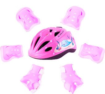 BigBoss Bike Helmets for Kids skateboard protective gear with Protective Gear Set Elbow Pads Knee Pads Wrist Guard for Cycling Skateboard Scooter Rollerblading Skating for kids 3 to 14 Years, S Pink