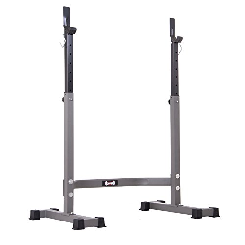 Body Champ Squat Rack with Adjustable Olympic Squat Rack Stand with Built-In Safety Hooks, Telescoping Uprights, & Anti-Skid End Caps , Silver/Gray/Black