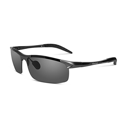 Hourvun Gray Metal Frame Sport Sunglasses Outdoor Sunglasses Polarized for - Online Cycling Glasses