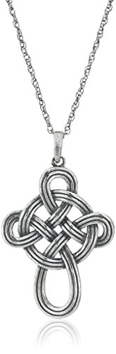 Sterling Silver Oxidized Celtic Knot Cross Pendant Necklace, 18