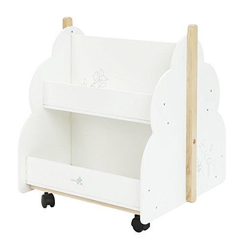 labebe Kid Bookshelf with Wheels, Wood Kid Bookshelf (White Bird Printed) for 1 Year Up, Book Rack/Kid Bookshelf/Child Bookshelf/Toddler Bookshelf/Child Book Display/Kid Small Bookshelf Toy Storage by labebe