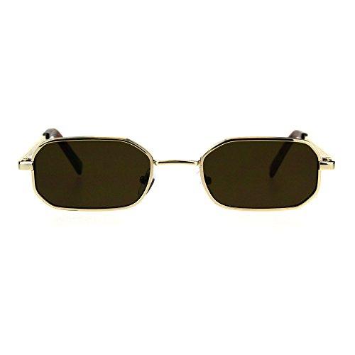 Mens Narrow Metal Rim Rectangular Hippie Pimp Sunglasses Gold Brown