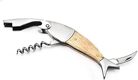 MONTA 1 sacacorchos de acero inoxidable con mango de madera, 12 x 3,5 x 4,5 cm