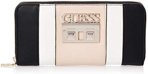 Guess Black Multi Kamryn Slg Large Zip Around Clutch Bag