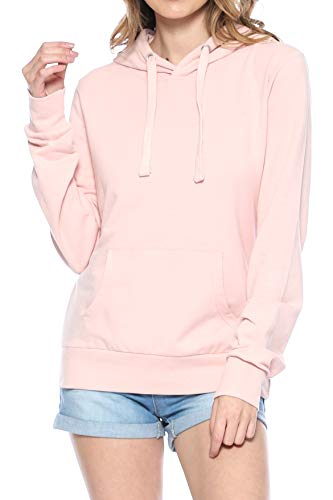 Hoodie Cotton Terry - Urban Look Womens Basic Lightweight Stretch French Terry Pullover Hoodie (A Blush Pink, X-Large)