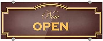 8x3 Now Open Classic Brown Premium Acrylic Sign CGSignLab 5-Pack