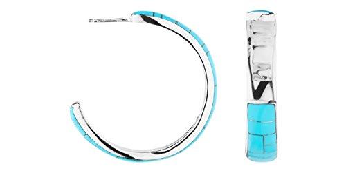 Canyon bijoux Boucles d'oreilles créoles en argent 925 passivé, Turquoise, 7g, Ø35mm