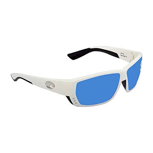 Costa Del Mar Tuna Alley Sunglasses, White, Blue Mirror 580 Glass Lens