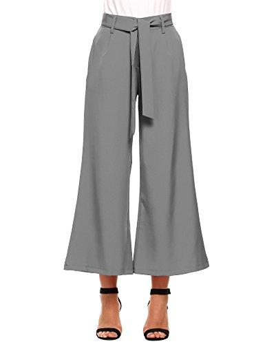 Zeagoo Women's Stripe Flowy Wide Leg High Waist Belted Palazzo Culotte Pants Capris