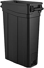 AmazonCommercial 23 Gallon Commercial Slim Trash Can with Handle, Black, 1-Pack
