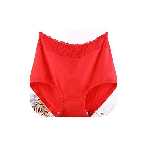 Lace Flower Underwears Women Panties Cotton High Waist Seamless Plus Size 6XL Women's Briefs,Red,XXXL