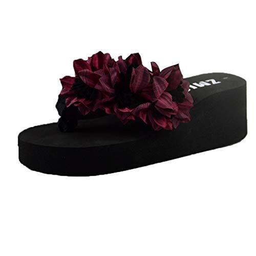 Dressin Platform Sandals Women Muffin Wedge Slippers Sandal Home Bathroom Beach Travel Comfy Flip Flops Shoes Wine