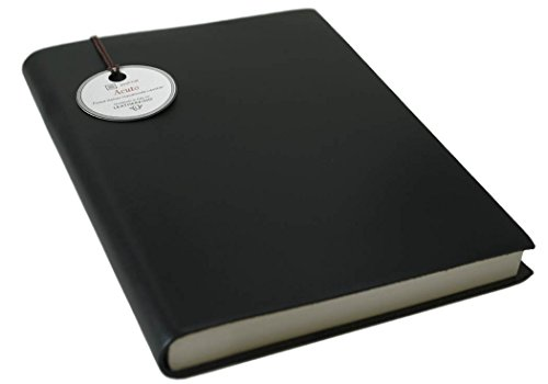 Acuto Large Black Handmade Italian Leather Bound Journal, Plain Pages (21cm x 15cm x 2cm)