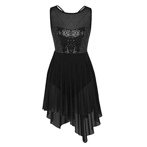 inlzdz Women's Lyrical Ballet Dance Costume Sweetheart Sequins Triangle Cut High-Low Dress Black X-Large (Dress Heart Ballerina)