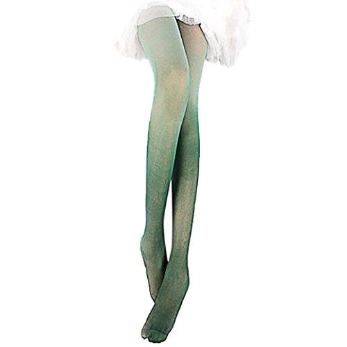 Creazy Vintage Gradual Gradient Change Tights Stockings Women Girls Pantyhose Fashion (Green)