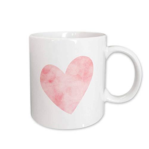 3dRose 280772_1 Pretty Blush Pink Watercolor Heart Mug, 11 oz