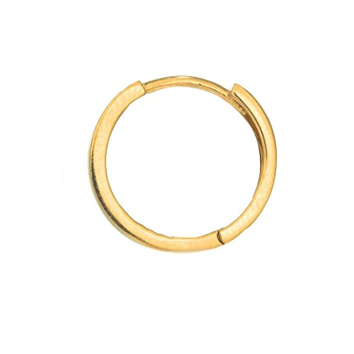 Ritastephens Men's Unisex 14K Real Yellow Gold Square Tubular Huggie Hoop Single Earring 11mm ()