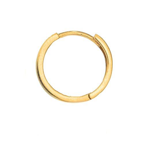 Ritastephens Men's Unisex 14K Real Yellow Gold Square Tubular Huggie Hoop Single Earring 11mm