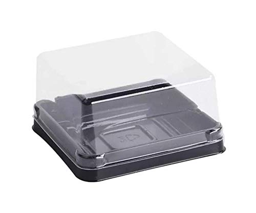 50 Sets 2 1/4 inch X H 1 1/2 inch of Clear plastic mini cake box muffins box cookies cookies muffins dome box wedding birthday gift box (80g black)