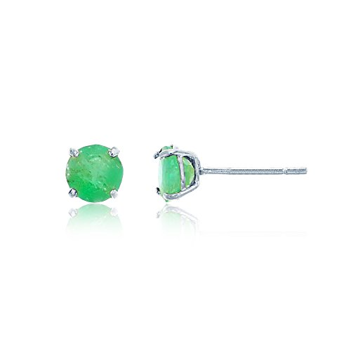 4mm Emerald Stud Earrings - 14K White Gold 4mm Round Emerald Stud Earring